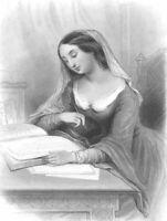 FRENCH NUN HELOISE Romantic Letters Lover Peter Abelard 1857 Art Print Engraving