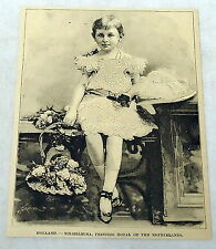 1889 magazine engraving ~ HOLLAND--WILHELMINA, PRINCESS ROYAL OF NETHERLANDS