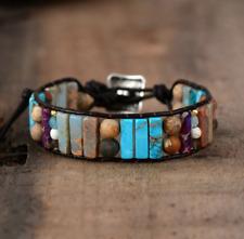 Natural Beaded Wrap Cuff Bracelet, Amazonite Leather Oblong Turquoise Jasper