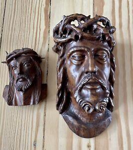 2 X Jesus Christus Kopf Dornen krone Holz geschnitzt Holzstamm Baum Schnitzerei
