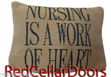 New NURSING Is a Work of Heart Pillow Cover Shell Back Cushion Nurse Breastfeed