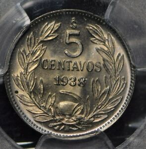 Chile 1938 5 Centavos Condor animal PCGS MS67 PC0827 combine