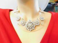 AB & Smoke Rhinestone Faux Pearl Flower Acrylic Bib Necklace Vintage