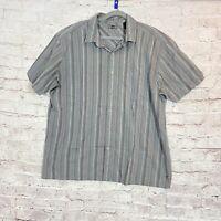 REI Men's Shirt Short Sleeve Gray Striped Size XL Casual Hiking