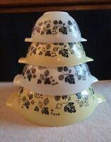 Vintage PYREX Set of 4 Gooseberry Yellow Black & White Cinderella Mixing Bowls