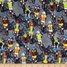 CYCLISTS BICYCLE Fabric Fat Quarter Cotton Craft Quilting Sport