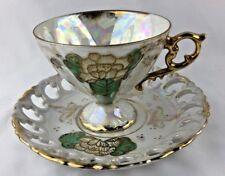 Vtg Ucagco Ceramics Japan Porcelain China Tea Cup Saucer Set Lotus