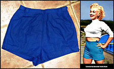 ORIGINAL 1940S 40S HIGH WAISTED COTTON SHORTS UK 8 10 WWII Wartime Marilyn pinup
