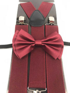 "Burgundy Color Wedding Party Accessories Bow Tie & 1.5"" in width Wide Suspenders"