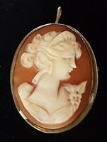 Silver & carved shell cameo vintage Victorian antique maiden brooch D