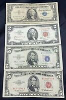 US Paper Currency Collection $5 Dollar Blue 5 Dollar Red Seal 2 Dollar Red Seal