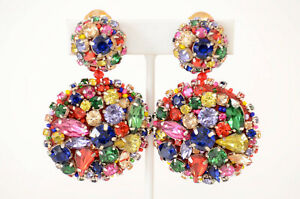 Oscar de la Renta red multi crystal encrusted disc round drop earrings NEW $490