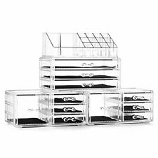 Felicite Home Acrylic Jewelry and Cosmetic Storage Boxes Makeup Organizer Set,