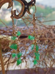 14K Gold Filled 100% Natural A Green Jade jadeite Earrings Bead Dangle 耳环 515341
