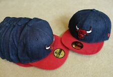 new era 59fifty chicago bulls denim fitted cap hat size 7 1/8 small 56.8cm