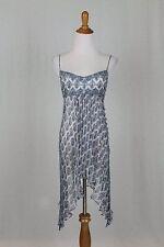 Vintage Badgley Mischka Couture 90's Beaded Silk Flapper Dress Deco Blue Print 2