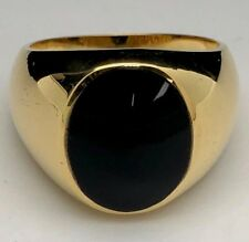 14K Yellow Gold Men's Oval Black Onyx Ring Size 10, 11 grams