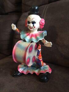 VINTAGE PAPER MACHE 7'' Clown With Drum