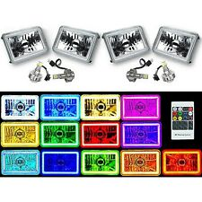 "4X6"" RF Color Change RGB SMD Halo Angel Eye Headlight 24W 6K LED Light Bulb Set"