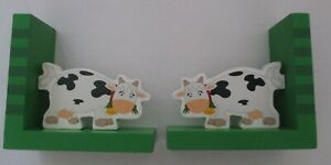 My Animal Farm Wooden Cow Book End Set Chidren's Room Bookends