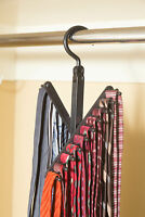 3-Pack Tie & Belt Rack – 20 Non-Slip Hanger Hooks Each - Rotates 360 Degrees