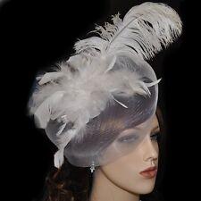 Fascinator plumes blanc pince à Cheveux Voile bijou pour mariage mariée Grand