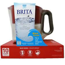 Brita Wave Filtered Water Pitcher 10 Cup Capacity Includes BPA-Free 2-Filter Red