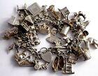 Georg Jensen vintage solid silver charm bracelet & 32 charms,rare, moving,110.3g