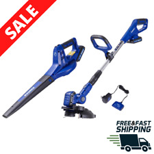 Cordless String Trimmer Edger & Leaf Blower Combo Kit Sweeper Grass Weed Eater