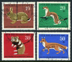 Germany B422-B425, Used. Wild animals: Rabbit, Ermine, Hamster, Red Fox, 1967
