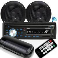 Pyle (PLCDBT75MRB) Bluetooth Marine Stereo Radio Receiver & Waterproof Speakers