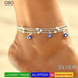 Evil Eye Anklet Greek Turkish Silver Charm Barefoot Protect Chain Women Girl AU