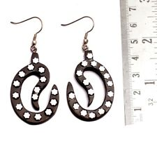 A Pair of Black & Silver Organic Ebony Wooden Gorgeous Earrings SEW_1089