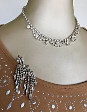 Vintage Rhinestone Necklace & Earrings Set in Mint Condition