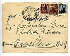 Lire 3 ritaglio di cartolina postale usato come francobollo su busta