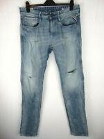 Replay ANBASS Slim Fit W34 L34 Mens Blue Distressed Denim Jeans