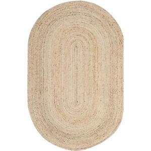 Rug Oval Natural Jute Rustic look Reversible Rug Braided Style Rug Floor Mat