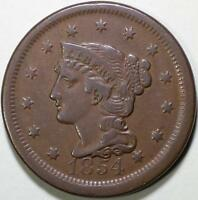 1854  Braided Hair Large Cent - ** VF+ ** N-11, R2 - Die State B