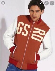 G-STAR RAW Men's McIntyre Baseball Jacket Size XL Leather Sleeves