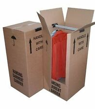 3 LARGE STRONG REMOVAL MOVING WARDROBE CARDBOARD BOXES WITH HANGING RAILS