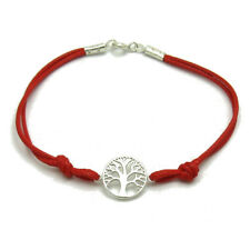 Sterling silver bracelet solid 925 Tree of life with red string B000213R