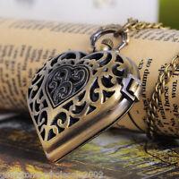 Wholesale Bronze Tone Necklace Chain Quartz Pocket Watch Heart GW