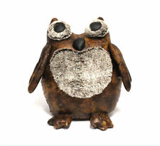 Luxury Faux Brown Leather with Fluffy Eyes & Chest ~ Owl Doorstop 27330