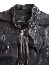 All Saints Neuman Leather Jacket Men's Large Black Biker Vintage ALS270 #