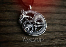 Viking Fenrir Wolf Knot Pendant - 925 Sterling Silver -- Norse/Celtic/Medieval