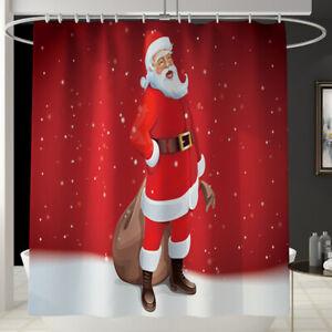 Printed Christmas Waterproof Bathroom Shower Curtain Santa Claus Bathroom Decor
