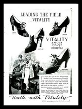 1937 Vitality Shoe Company Vintage PRINT AD Woman Charm Fashion Horses 1930s