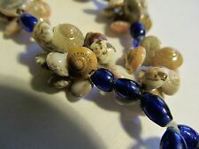 """Umbonium Snail Shell NECKLACE w/Tassel 30"""" Pink Shells COBALT Blue Glass BEADS"""