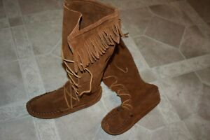 Leather Deerskin Moccasin Boots Native American Handmade Men's Size 8-9