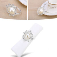 D2E9 12pcs Pearl Designed Napkin Ring Holder Dinner Party Wedding Banquet Table